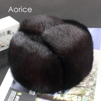 Aorice 170760 Men Mink Fur Hat Men S Mink Fur Trapper Cap Genuine Sheepskin Leather Hunting
