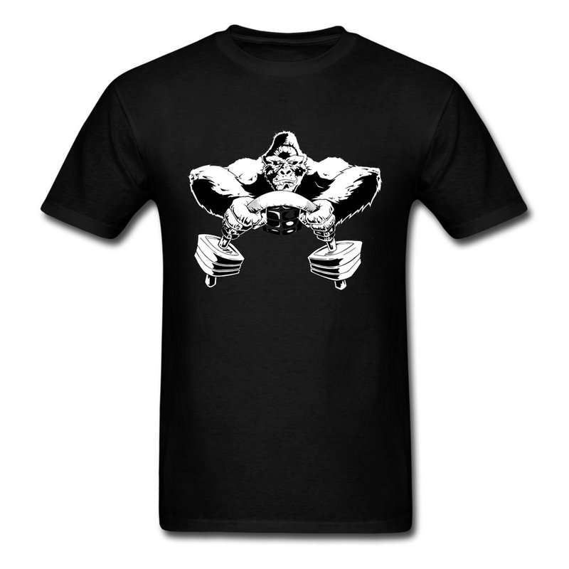Simple Style <font><b>Gorilla</b></font> Weight Lifting Man Crewneck T Shirt Personalized <font><b>Natural</b></font> Cotton Teenage Top Tee