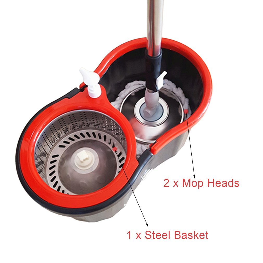 360 Rolling Magic Floor Spin Mop Hands-free Spin Mop Bucket Set Foot Pedal Rotating Floor Mop with 2 Microfiber Mop Heads