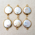 WT-C152 Charm Round Pearl Connector for necklace natural pearl raw color shape pearl jewelry with gold plated pearl connectors