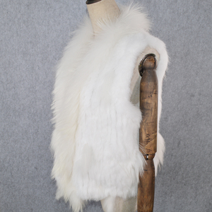 Image 2 - 2020 Hot sprzedaż Party kobiety prawdziwe futro z królika kamizelka dzianiny frędzle prawdziwe prawdziwe futro z królika kamizelka prawdziwy kołnierz z futra szopa kamizelka