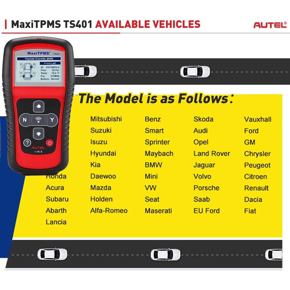 nuovo strumento di diagnostica auto TPMS per il sistema di monitoraggio della pressione pneumatici con copertura del sensore senza precedenti TS401 Autel MaxiTPMS TS401