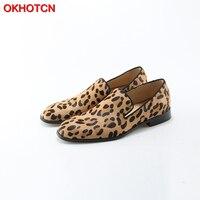 OKHOTCN Leopard Prints Loafers Men Velvet Casual Shoes Men Flats Plus Size Men Prom Shoes Suede