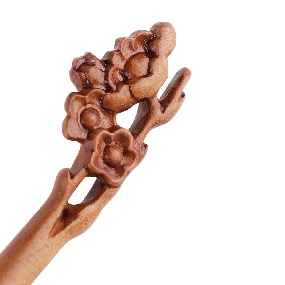 Ручная работа, деревянная резная палочка для волос, шпилька для женщин, женская Ретро Этническая деревянная палочка для волос, модные аксессуары для волос, 4 стиля, Новинка
