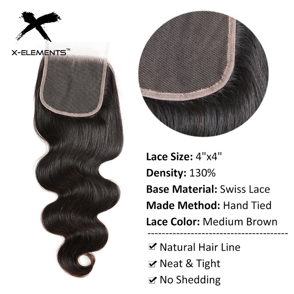 X-Elements Hair 4x4 Lace Closure Body Wave Hair Weaves Non-Remy Brazilian Human Hair Extensions Natural Color Swiss Lace Closure (8)