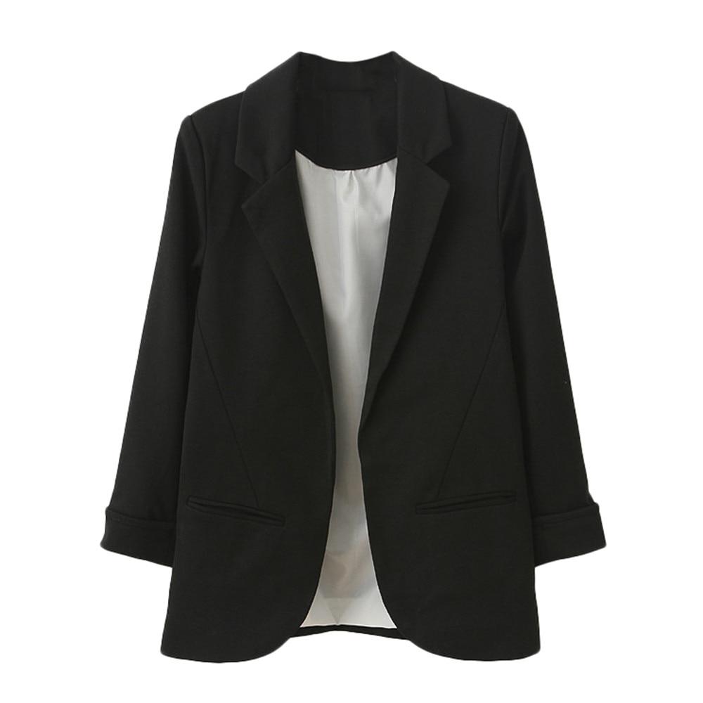 2019 Women's Blazer Pink Long Sleeve Blazers Solid Cardigan Coat Slim Office Lady Jacket Female Tops Suit Blazer Femme Jackets