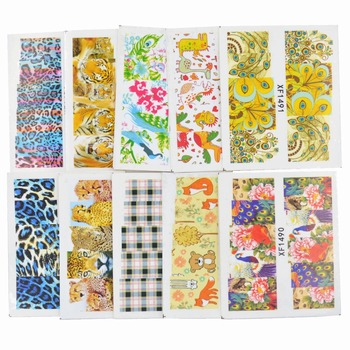 50 Sheets Mixed Styles Leopard Flower Lattice Designs DIY Decals Nails Art Water Transfer Printing Stickers Tools For Nails