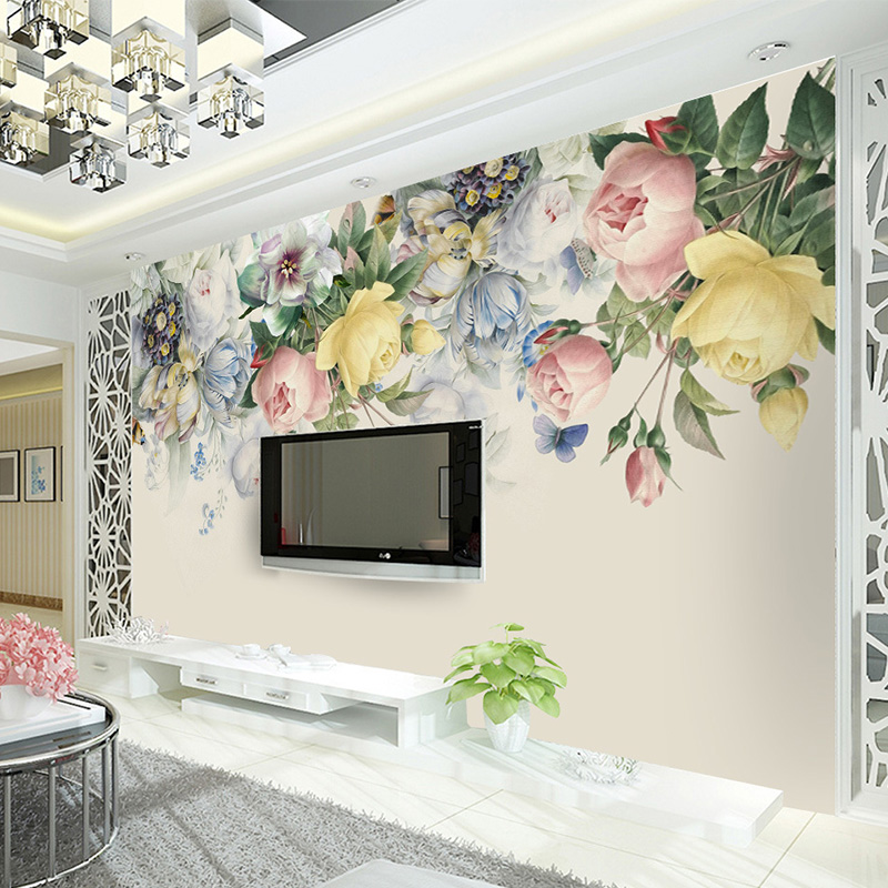 Custom Photo Wallpaper Wall Murals Wall Stickers Hand Painted Retro Roses Restaurant TV Background 3d Modern papel de parede beautiful net color decorative pattern design of modern household wall paint murals background wallpaper with high quality papel