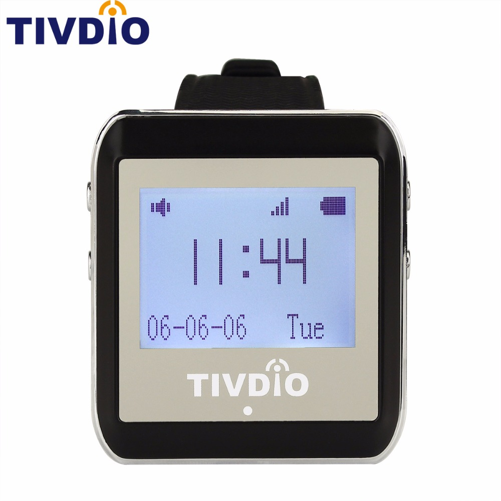 TIVDIO 999CH Wireless Restaurant Calling System Watch Wrist Receiver Host Watch Call Pager 433MHz Black F9404A