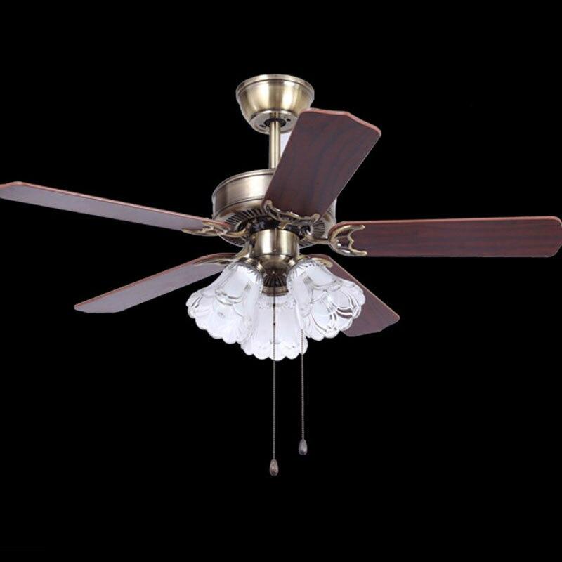 Rétro bois/métal feuille Led ventilateurs de plafond lampe Lustre Bronze verre salle à manger Led ventilateur de plafond éclairage Simple ventilateur de plafond lumières