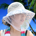 Sunbonnet sunscreen veil hat women's summer sunbonnet large anti-uv sun hat