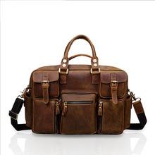 Vintage Crazy Horse Genuine Leather Travel bag Men Duffel Bag Luggage Large Laptop Handbag Tote Multi-Pocket Brown Bag 8034