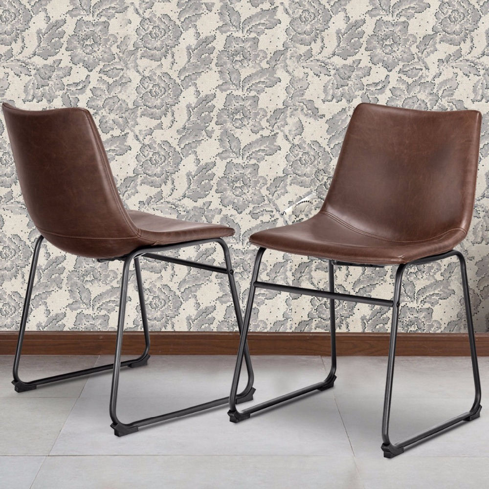 Giantex Set of 2 PU Leather Vintage Dining Chairs Side Chair with Metal Legs Brown New Dining Room Furniture HW57432 все цены
