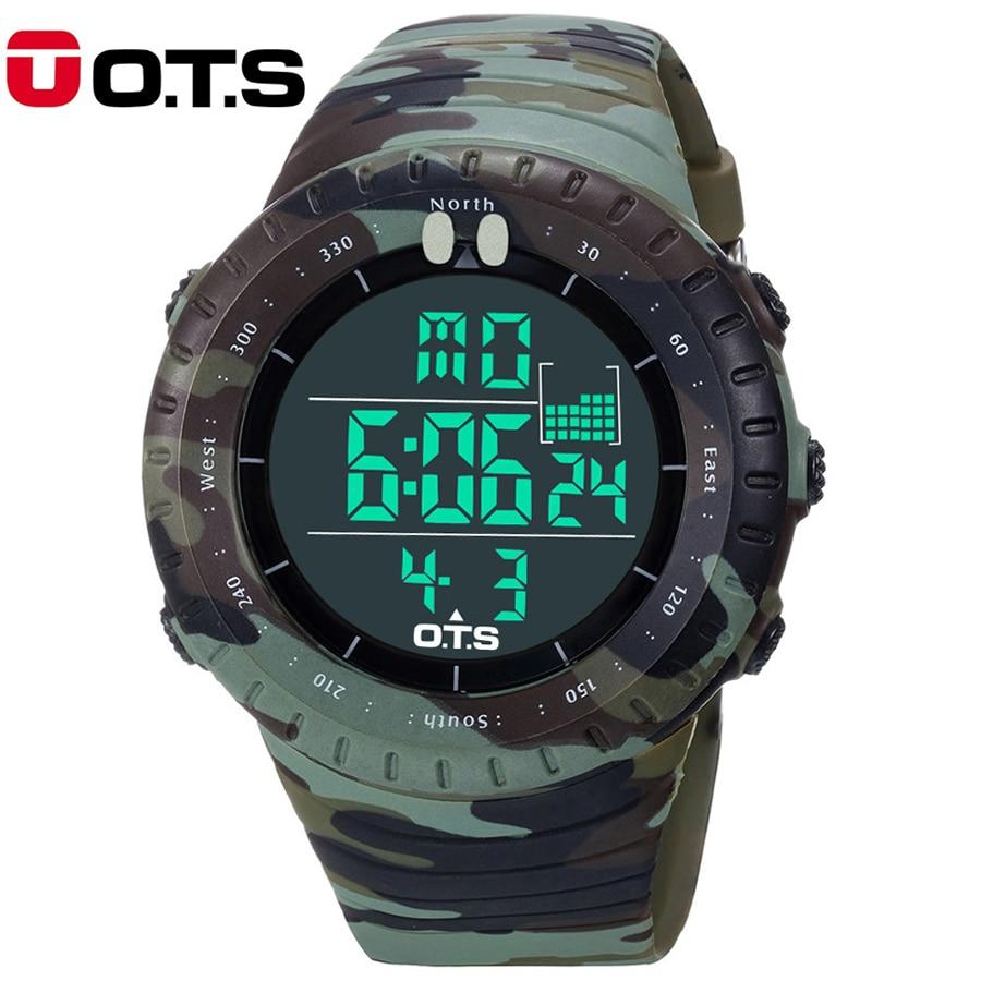 2016 New OTS Brand Fashion Watch Men Style Waterproof Sports Military Watch S Shock Men's Luxury Analog LED Quartz Digital Watch