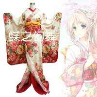 Women Floral Japanese Traditional Furisode Kimono Long Yukata Cosplay Costume