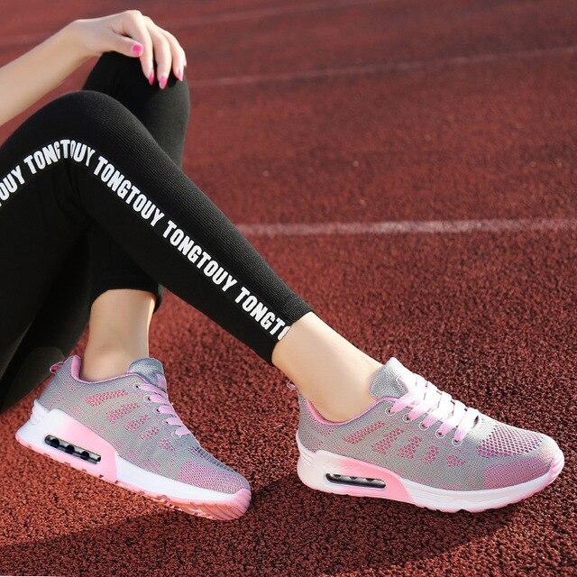 620b355d Dropship Nuevo 2017 mujer otoño nueva transpirable zapatos deportivos cojín  de aire femenino pequeños zapatos blancos
