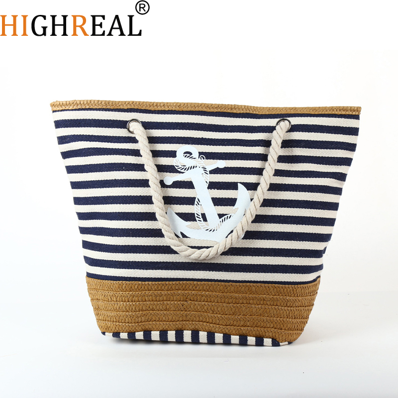 Beach Summer Big Straw Bags Handmade Woven Tote Travel Handbags Designer Shopping Bags