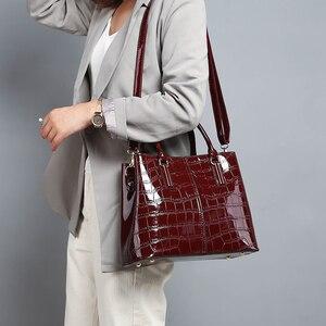 Image 5 - Fashion 3 Sets Women Handbags 2020 High Quality Patent Leather Women Luxury Brands Tote+Ladies Shoulder Messenger Bag+Clutch S