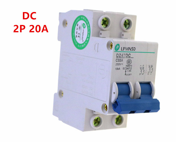 MCB 20A Electric Miniature 2P DC 400V Circuit Breaker PV Solar Energy Air Switch