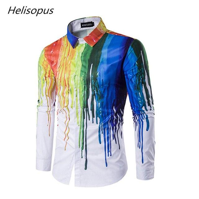 79f21d1c82e Helisopus Men s shirt with printed Ink Painted long sleeve Painted graffiti  Streetwear shirts men chinese batik painting shirts
