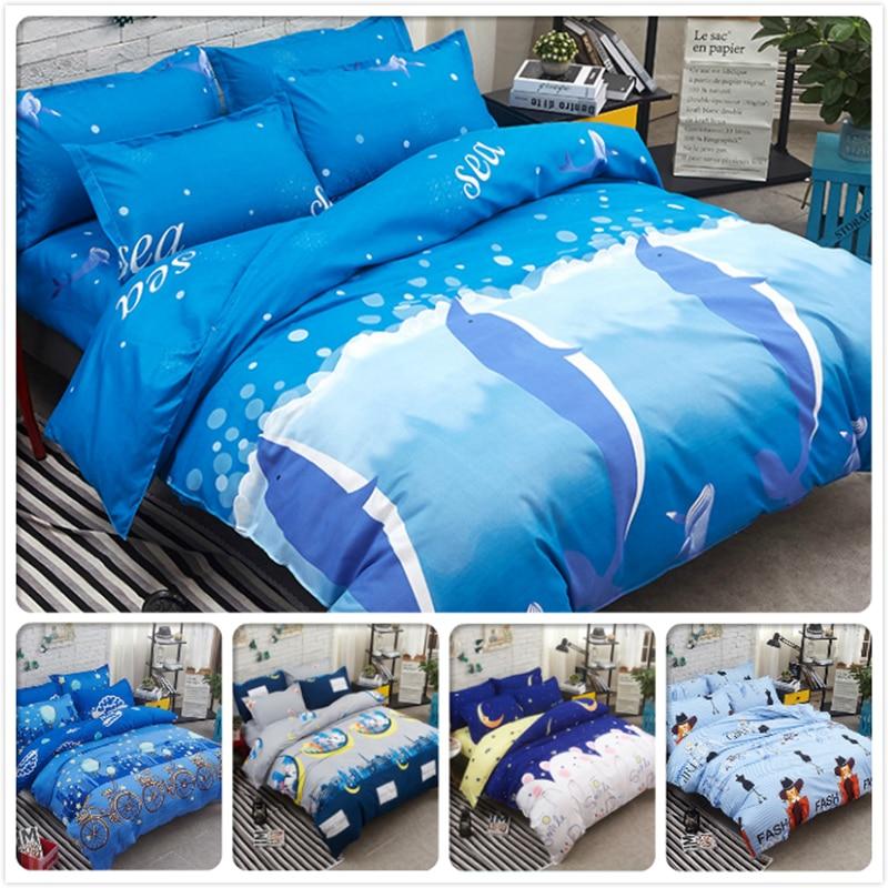 Sea Blue Duvet Cover Flat Sheet Pillowcase 3/4 pcs Bedding Set Kids Cotton Bed Linen Full King Queen Twin Single Size Bedclothes