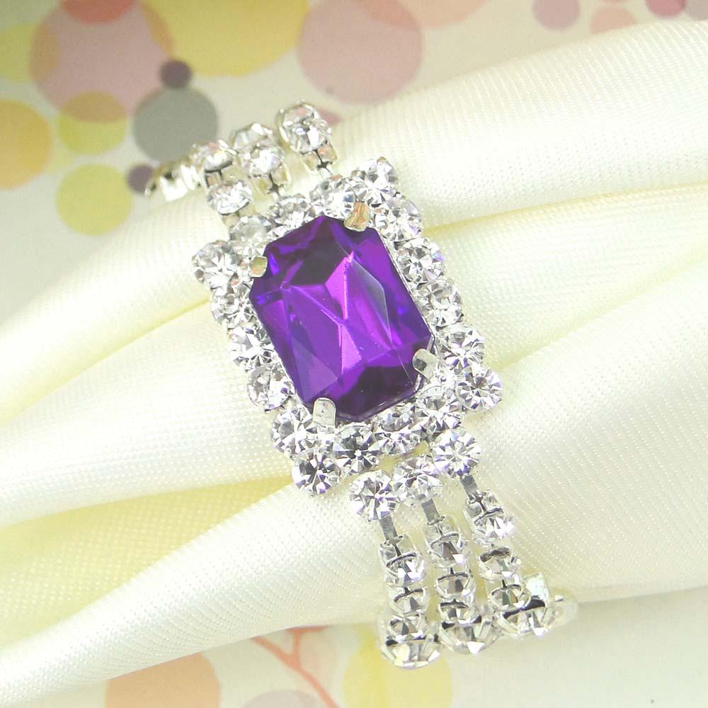 24pcs/lot Purple color Silver Hoops White Diamante Napkin Ring Serviette Holder Bridal Wedding Bridal Banquet Favour Decor