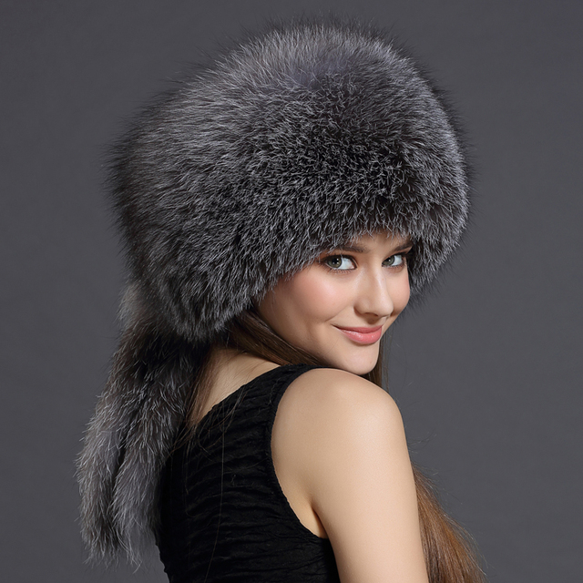 Real Fox Winter Hats For Women Winter Luxury Fur Genuine Fur Trapper Hat Caps Russian Style Hat Bombers New 2016