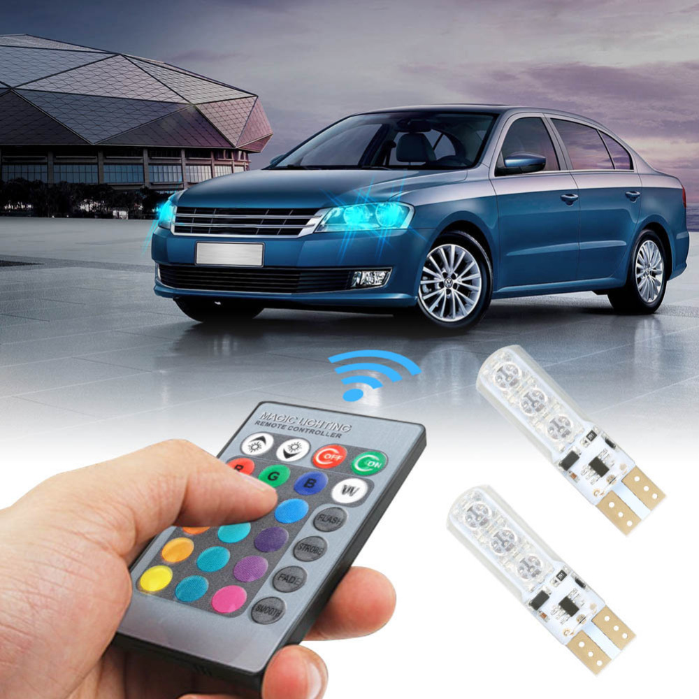 2pcs T10 RGB Car Interior Decoration Light Width Remote Control 12V 6 SMD Auto Atmosphere Lamp High Quality CSL2017 for toyota corolla avensis yaris rav4 auris hilux prius app control car interior atmosphere decoration lamp rgb led strip light