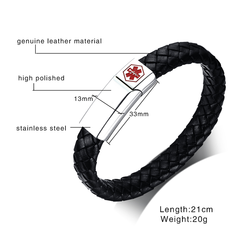 Meaeguet Black Braid Genuine Leather Medical Alert ID Bracelet Magnet Buckle Stainless Steel Bangle for Men Jewelry Wristband (4)