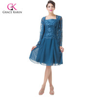 New Knee Length Lace Bandage Blue Coat Dress Short Mother Of The Bride Dresses With Jacket