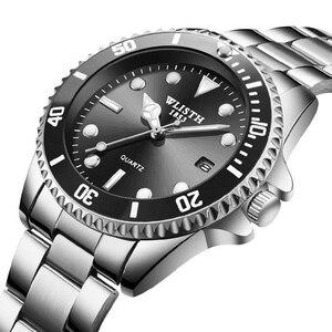 Image 2 - WLITH2019relogio masculino luksusowy srebrny męski zegarek kwarcowy ze stali nierdzewnej sport wodoodporny wypoczynek biznesowy męski zegarek
