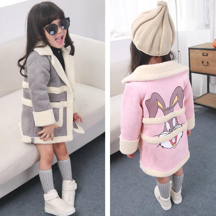 new 2015 autumn winter cute cartoon rabbit pattern Suede girls coat Plus velvet warm kids clothes