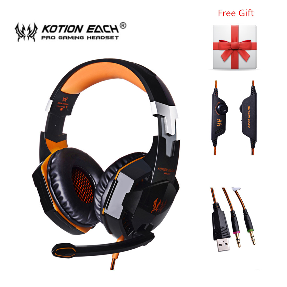Kotion Each G2000 G4000 Stereo Gaming Headset Deep Bass Computer Game Headphones with Microphone LED Light for Computer PC Gamer rock y10 stereo headphone earphone microphone stereo bass wired headset for music computer game with mic