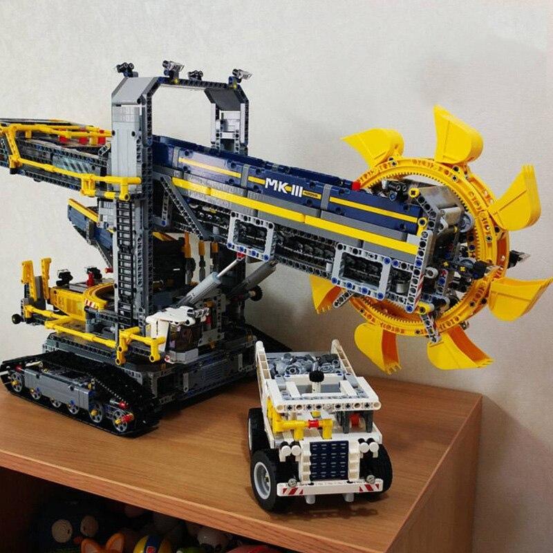 Лепин 20015 3929 шт. техника ведро колесный экскаватор модель строительные блоки элементы конструктора игрушки для детей Совместимые 42055