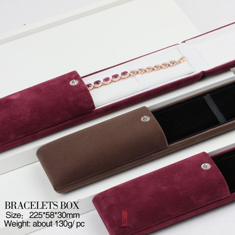 Красный и коричневый Цвет длинные Браслет Box Цепочки и ожерелья случае бархатная шкатулка для ювелирных изделий Дисплей Цепочки и ожерелья ...