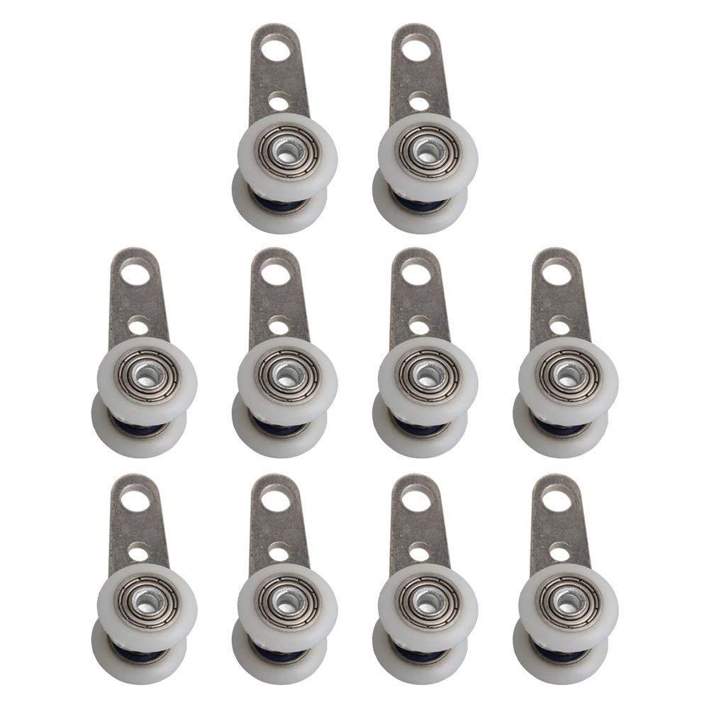 Bloc de poulie à roulement métallique | 10 pièces, 45x19mm avec deux roues en plastique pour armoire, armoire, fenêtre, portes coulissantes