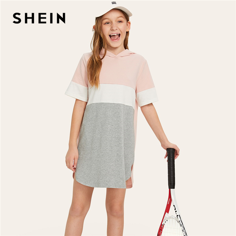 SHEIN Kiddie Colorblock Curved Hem Hoodie Mini Girls Dress 2019 Summer Shift Active Wear Kids Dresses For Girls Clothes chevron cut eyelash lace hem dress