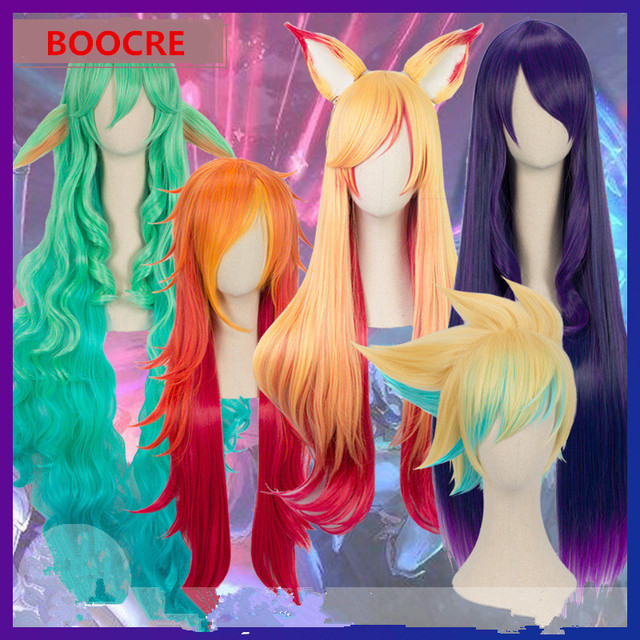 MOBA Game Anime Cosplay Props LOL AD Carry Magic Ezreal Syndra Soraka Ahri Miss Fortune Cosplay Wig Halloween Party Wig Hair