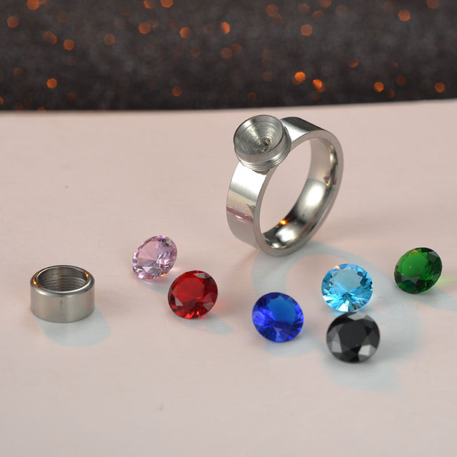 7 Colors/Set DIY Rings for Women Screw Rotation Switch Stone Hot Rings World Pre