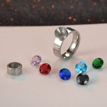 7 Colors/Set DIY Rings for Women Screw Rotation Switch Stone