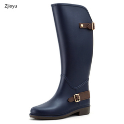 2018 new Women Flat Heels Knee-high Rain Boots Non Slip Tall Buckle Rainboots Waterproof Water Shoes Woman Wellies
