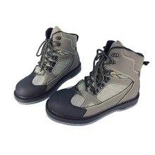 Fliegen Angeln Schuhe Waten Jagd Upstream Undichten Wasser Schuh Filz Sohle Atmungsaktive Berufs Leder Lace up Schuhe FM2