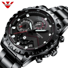 цена NIBOSI Relogio Masculino Watch Men Fashion Sport Quartz Clock Mens Watches Top Brand Luxury Full Steel Business Waterproof Watch онлайн в 2017 году