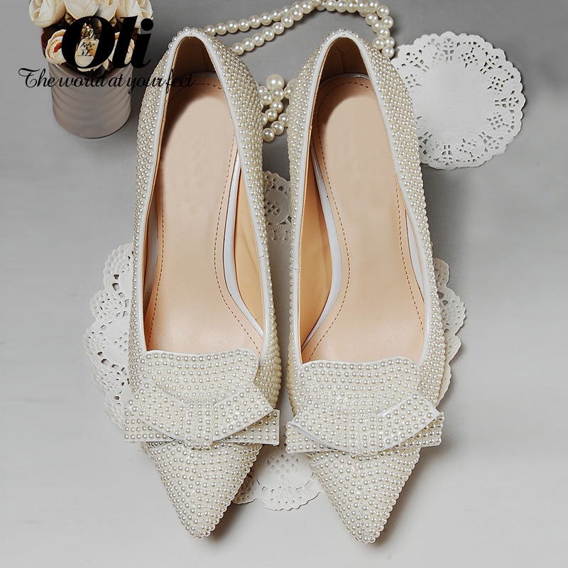 8cm bow spring and summer pointed toe high-heeled shoes pearl white wedding shoes bridal shoes thin heels princess shoes shallow cinderella slipper shallow mouth high heels bridal shoes diamond wedding shoes fine with pointed shoes