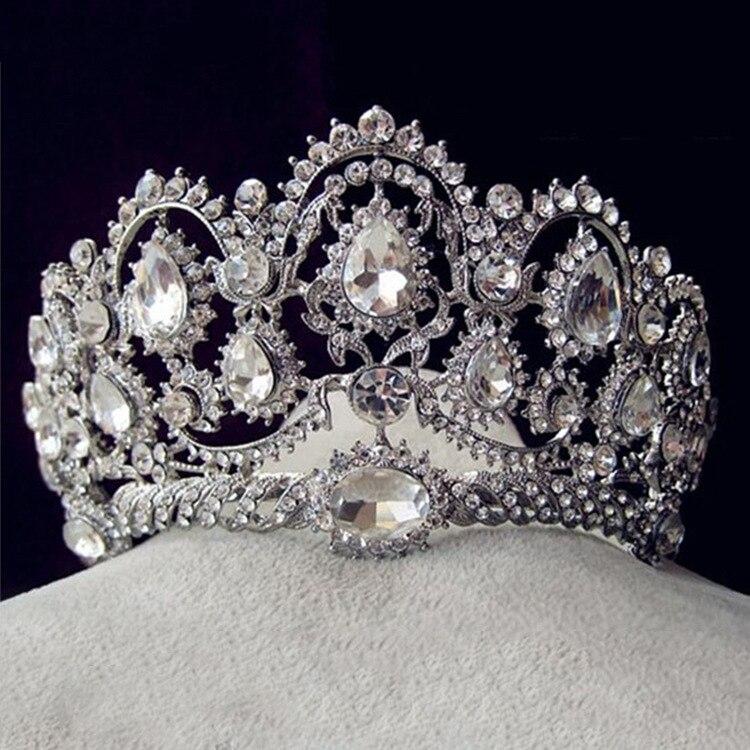 Luxury Bridal Tiara big Rhinestone crystal Queen Crown Wedding Hair Accessories diadem headband Pageant Hair Ornaments Headdress