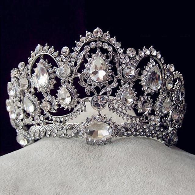Luxury Bridal Tiara grande Strass di cristallo Regina Corona Da Sposa  Accessori Per Capelli diadema fascia 4f31fbde5719