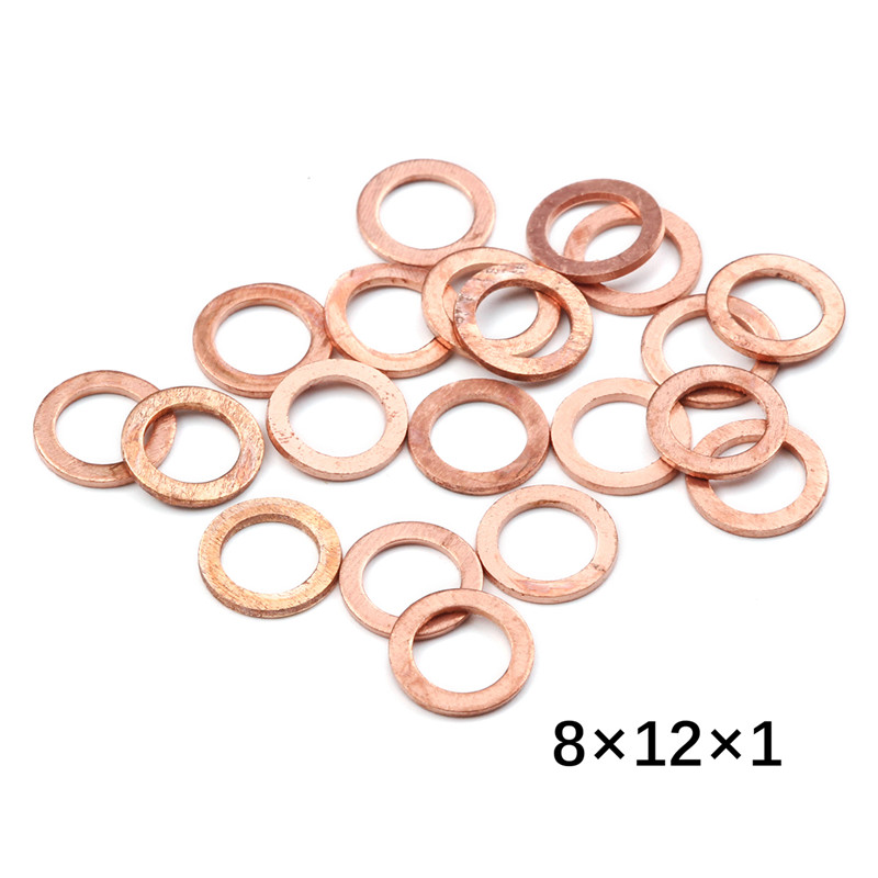 20 piezas 8*12*1MM surtido de latón cobre arandela roja para bote de sellado de trituración arandela de sellado junta plana anillo para generadores maquinaria
