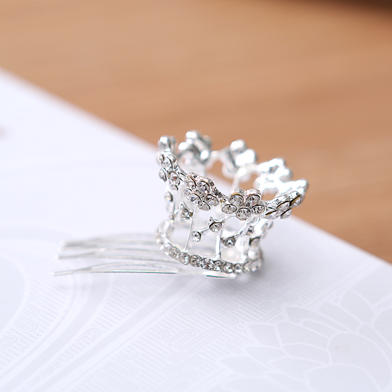 2017 Limited Time-limited Tiaras Trendy Zinc Alloy Round Children Accessories Rhinestone Jewelry Crown Tiara Comb