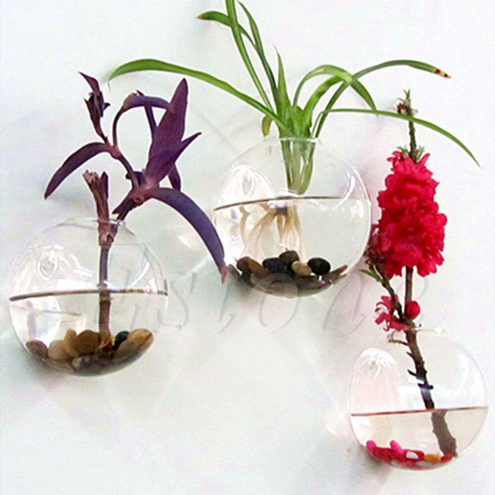 Настенные Стекло цветочных кашпо ваза мяч декор дома сад Террариум container-p101