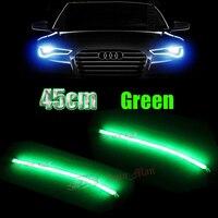 2x 45cm Green DRL Daytime Running Light Flexible Tube Style LED Strip For Car Motorcycle Headlight
